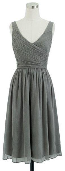 J.crew Heidi Dress in Silk Chiffon in Gray (graphite) - Lyst