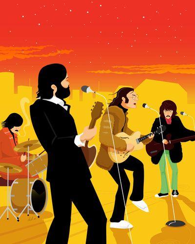 Beatles Rooftop Art Print