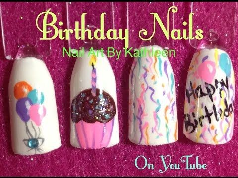 """Birthday Nails, DIY Nail Art Tutorial, Balloons, Cupcake, Confetti, Happy Birthday - http://47beauty.com/nails/index.php/2016/08/19/birthday-nails-diy-nail-art-tutorial-balloons-cupcake-confetti-happy-birthday/ http://47beauty.com/nails/index.php/nail-art-designs-products/  This nail art tutorial shows you how to paint several birthday nail designs: balloons, a cupcake with a candle, confetti, and """"Happy Birthday."""" I started the nails with white polish and a matte"""