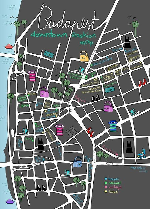 Budapest downtown fashion city map