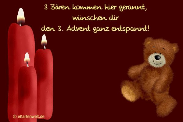 3 Bären kommen hier gerannt, wünschen dir den 3. Advent ganz entspannt! Animierte Grußkarte zum dritten Advent