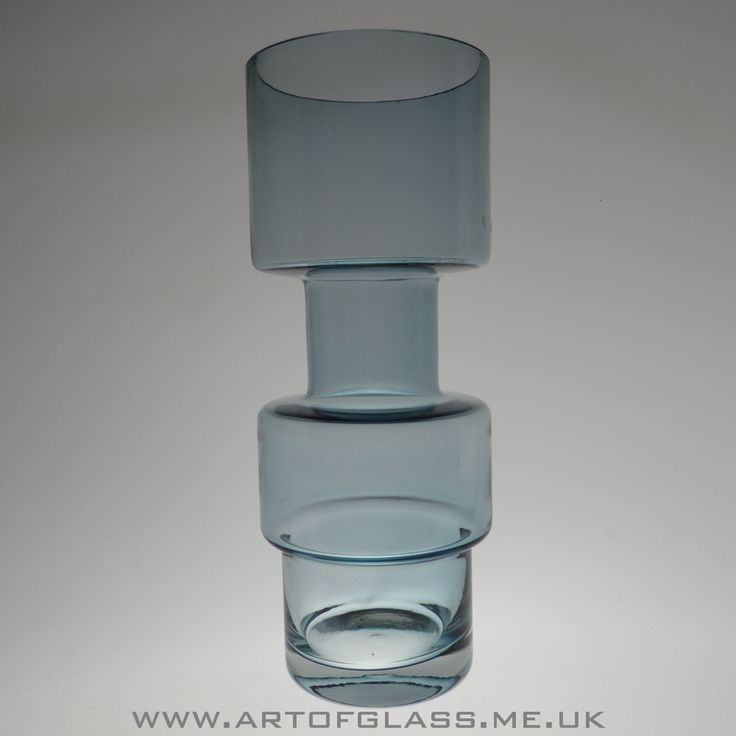 Riihimaki pale steel blue glass vase