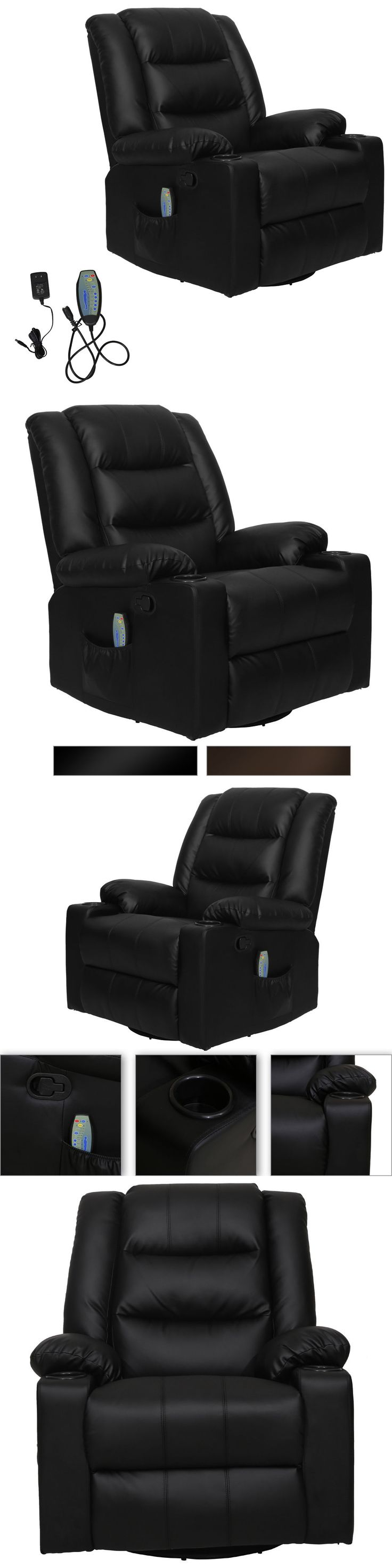 Electric tv recliner massage chair black with a footstool www vidaxl - Electric Massage Chairs Recliner Massage Sofa Chair Deluxe Ergonomic Lounge Couch Heated W Control Black