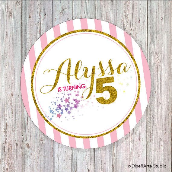 Pink and Gold  2 Round Label DIGITAL FILE