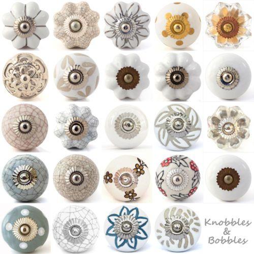 Details About White Cream Ceramic Knobs Drawer Pulls