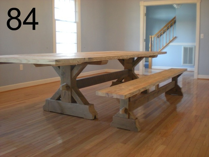 Farmhouse Table Made From Reclaimed Barn Wood. Made By Old Barn Star In PA.