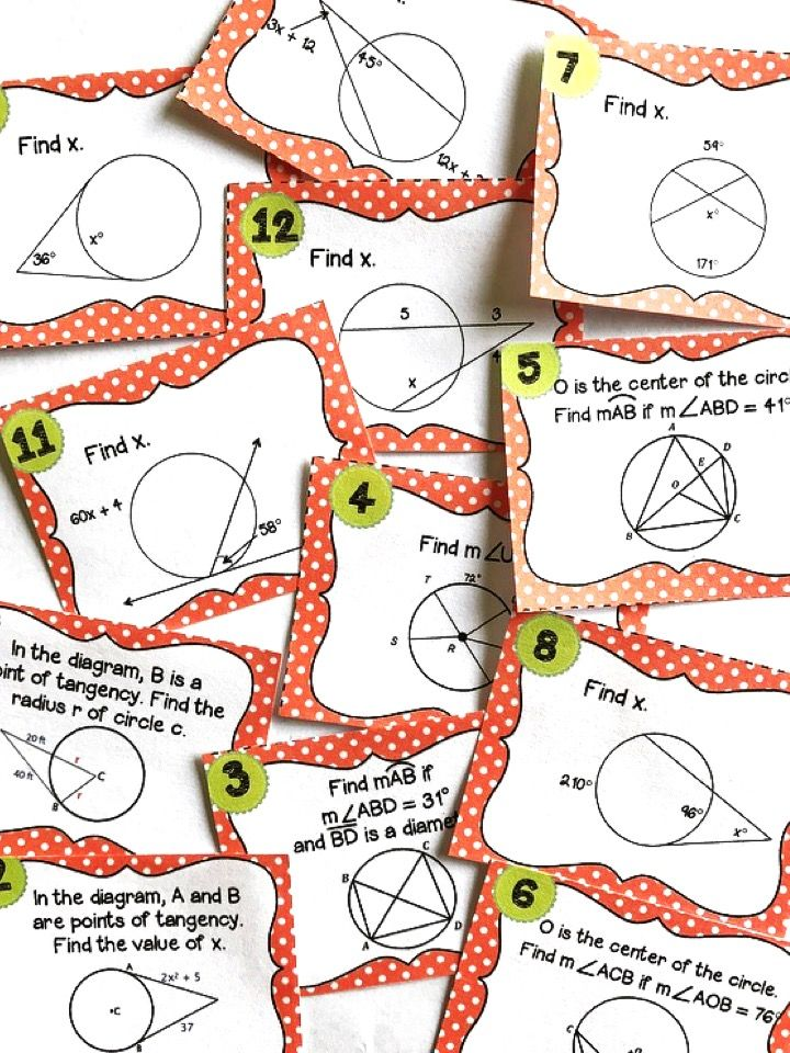 Geometry Circle Theorems Task Cards Pinterest Activities Math