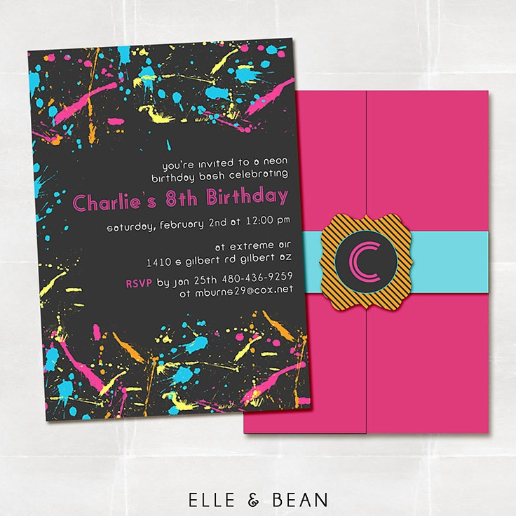 Neon Graffiti Birthday Party Invitation.