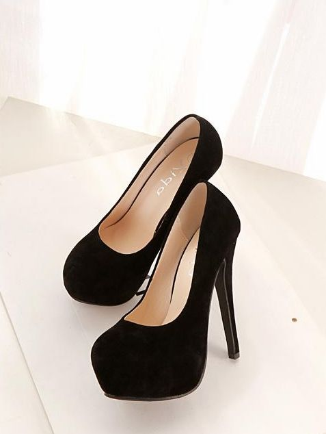 b69715acdbaa Classy Pure Black Round Toe High Heels Fashion Shoes on Luulla