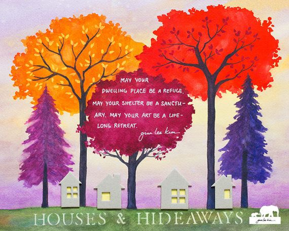 Watercolor Art Print. HOUSES & HIDEAWAYS stenciled by GinaLeeKim