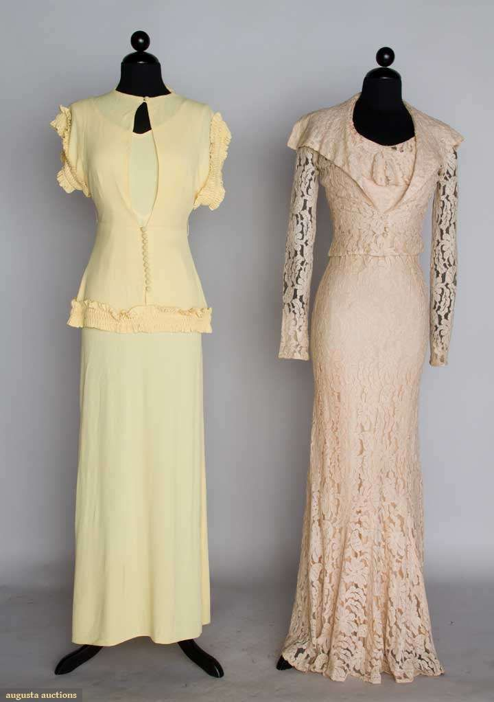 Two 1930s summer evening dresses: yellow silk crepe with matching jacket and blush lace with matching jacket.  Via Augusta Auctions.