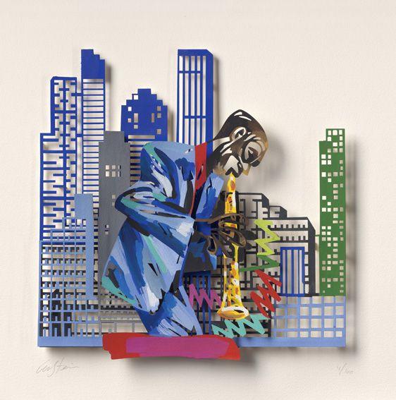"""Clarinet Player #Jazz - 2007, 30"""" x 22"""" in, Paper Cuts By #DavidGerstein - #HorizonArts #Miami #ArtGallery #Wynwood #Urban #Jazzandthecity http://www.davidgerstein.us/portfolio/clarinet-player/"""