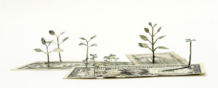 Intricately Cut Flowers Sprout Out of Paper Money - My Modern Metropolis