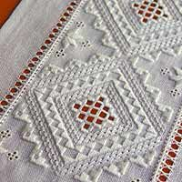 """Hardanger embroidery is a style of cutwork embroidery that originates from the Hardanger region of Norway. Traditionally, it involves white embroidery on white fabric, where the removal of some of the fabric's threads produce a lacy effect.""                                                                                                                                                                                 More"