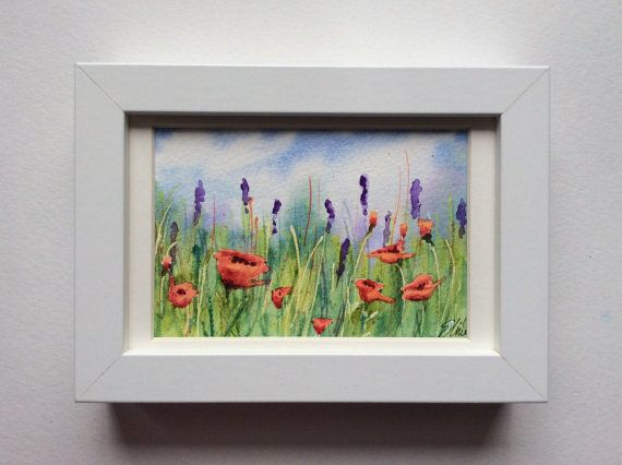 Frameable Handpainted Original Watercolor Postcard / Painting Featuring Poppies by UNIQUEPOSTCARDS