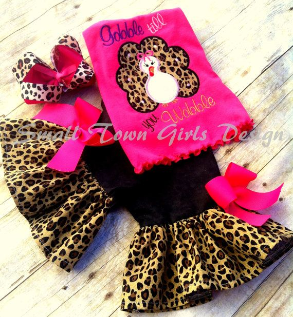 Leopard Cheetah Print Outfit Applique Turkey by smallsouthernbells, $52.00