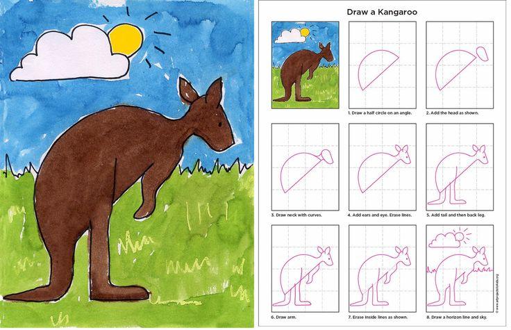 Draw a Kangaroo art project for kindergarten class. Australian animals unit.