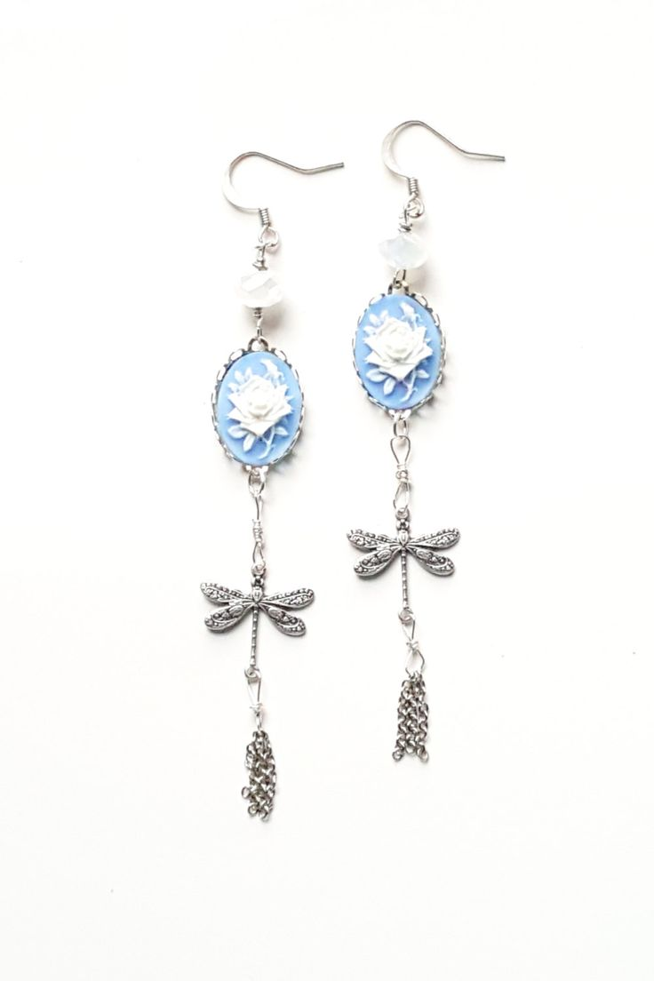 Hypoallergenic Vintage Style Sterling Silver Dragonfly Chandelier Earrings   Clipon, Bridal,