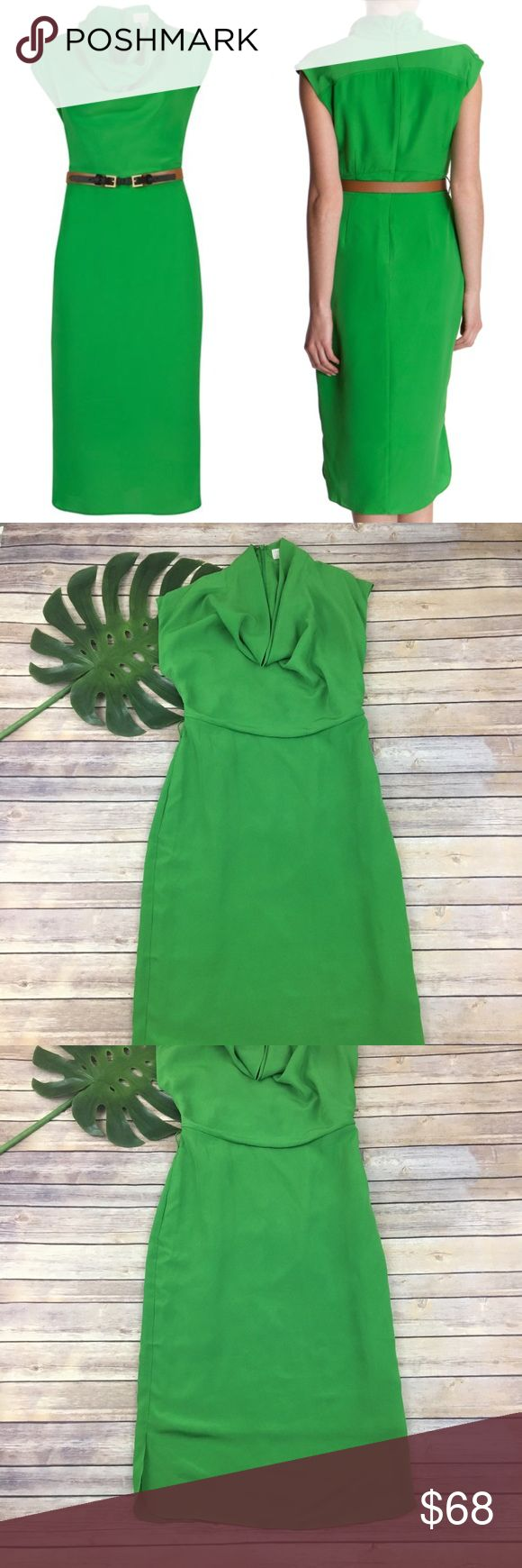 Ted Baker Kelly green dress fitted with pockets Ted Baker bright green midi dress, size 3 (8). It is in good condition but is missing the belt. It measures about 38 inches around the bust, about 32 inches around the waist and is about 47 inches long. Ted Baker Dresses Midi