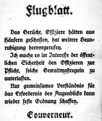 Flyveblad fra Kiels Soldaterråd den 5. november 1918. (Source)