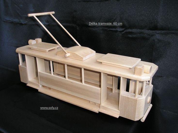 Velká tramvaj.Dřevěná hračka pro děti, český výrobce.