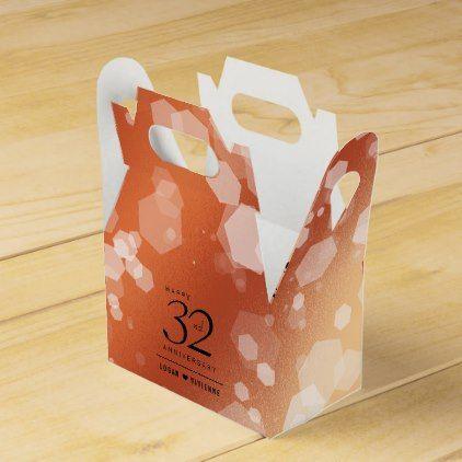 Elegant 32nd Bronze Wedding Anniversary Favor Box - craft supplies diy custom design supply special
