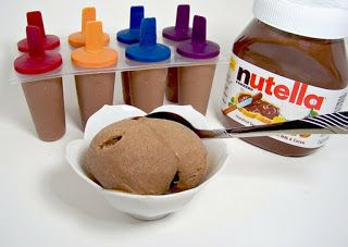 The Children's Nest: Nutella Ice Cream Pops!!!..made this, this afternoon for the kids...added 2 teaspoon vanilla,  about 1/3 powder sugar, about 1 tub of cool whip, chocolate chips and Graham crackers.  It was like a Gelato consistency. Husband rated it as a 8 out of 10 (10 being the best) he said it was very rich. Son loved it as well, reminds them of a banana spilt.
