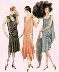 In the 1927 vogue was for sleeveless dresses such as these McCall's styles of 1927