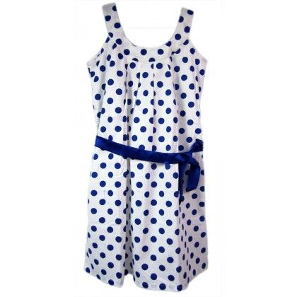 Naritva Blue Dots Neck Dress
