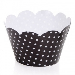 Cupcake Wrappers - Polka Dots - Black