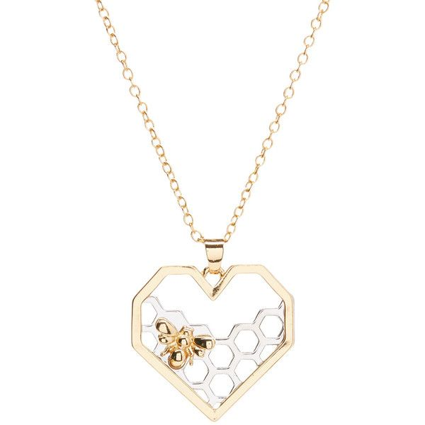 Braided Birch Two-Tone Honeycomb Heart Pendant Necklace ($9.99) ❤ liked on Polyvore featuring jewelry, necklaces, pendant necklaces, necklace heart pendant, pendant necklace, bee necklace and two tone chain necklace
