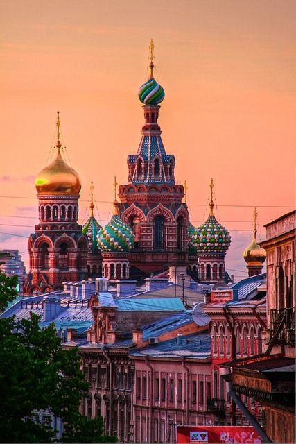 Sunset view of Church of Our Savior on The Spilled Blood in Saint Petersburg, Russia