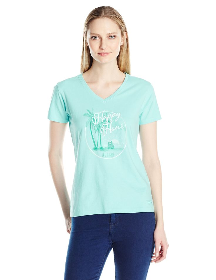 Life is good Women's Crusher Vee Happy Hour Circle Tee, Fresh Blue, Large. 5.9 ounces, garment washed for softness. Rib at the neck. Tonal Life is good logo on back neck. The Life is good company donates 10% of net profits to kids in need.
