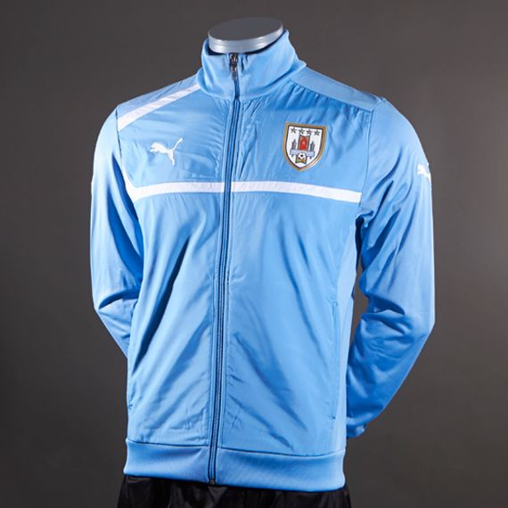 Small! Puma-Uruguay-National-Teams-Walk-Out-Jacket-Replica-Apparel-Silver-Lake-BlueWhite
