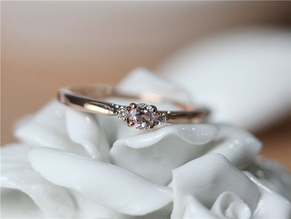 Ring Details: *Metal Type of this ring is in Solid 14k Rose Gold (Yellow Gold & White Gold are available). *Main Stone is Round Cut Morganite The