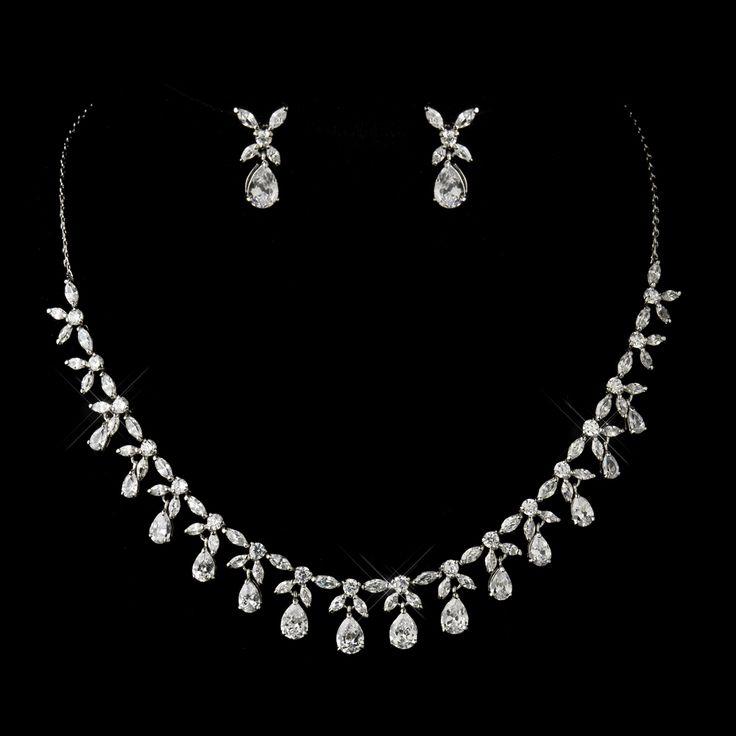 Floral Teardrop CZ Wedding Jewelry Set