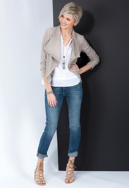 Katella Faux Suede Drape Front Jacket