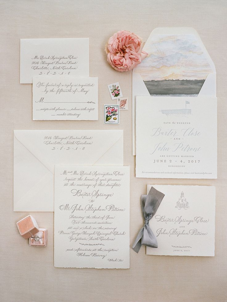 romantic gray white watercolor stationery  | Photography: Davy Whitener