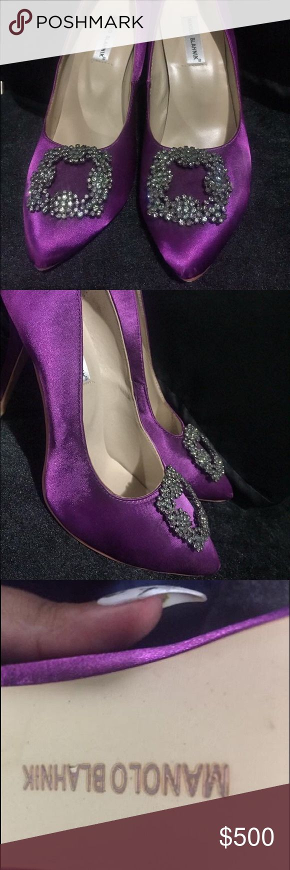 Manolo Blahnik Purple Pumps Like new. Worn for one night. Slight scuff on tip of left shoe. Other than that, perfect condition. I'm a 9 1/2 to 10 US and they fit perfect. Manolo Blahnik Shoes Heels