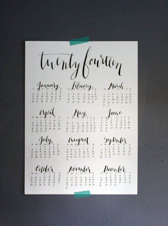 2014 Calendar / 11x15 by WriteOnDesign on Etsy