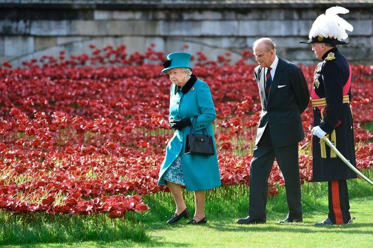 Королевская поездка в Лондонский Тауэр на поле керамических маков