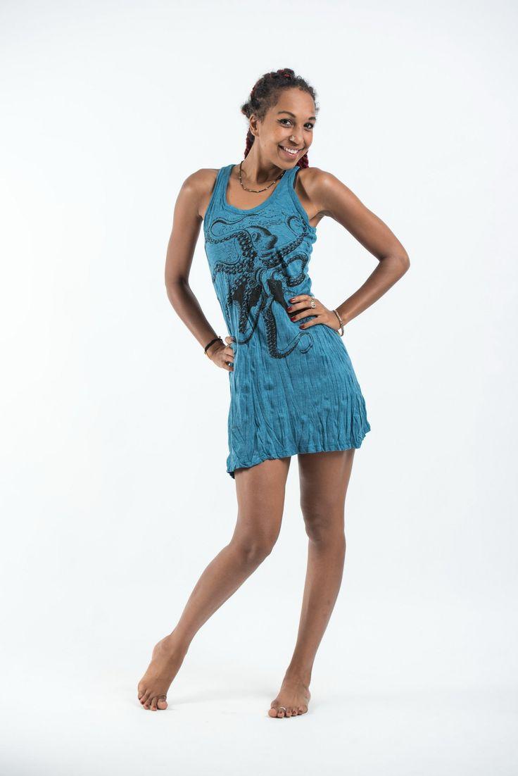 Sure Design Womens Octopus Tank Dress Denim Blue
