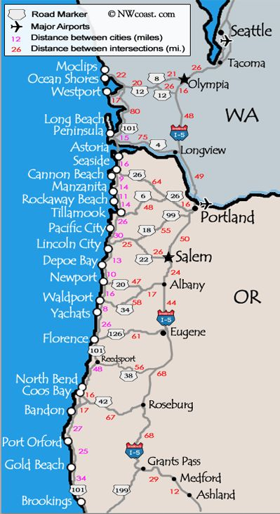 Washington and Oregon Coast Map