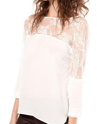 Bershka France - T-shirt ample Bershka détail dentelle