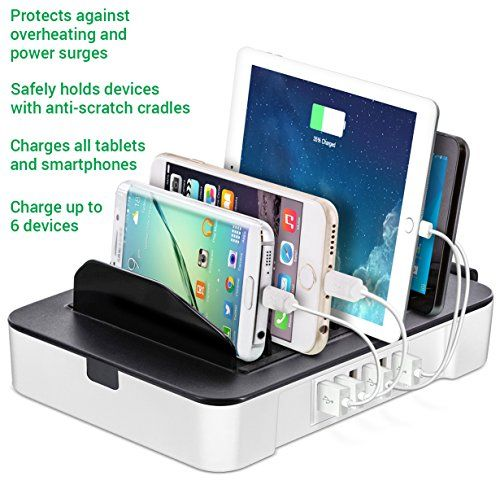 Okra 6-Port USB 2-in-1 Charging Station + Removable Hub Universal Desktop Tablet & Smartphone Multi-Device Hub Charging Dock for iPhone, iPad, Galaxy, Tablets (Rose Gold) | USB Charging Stations