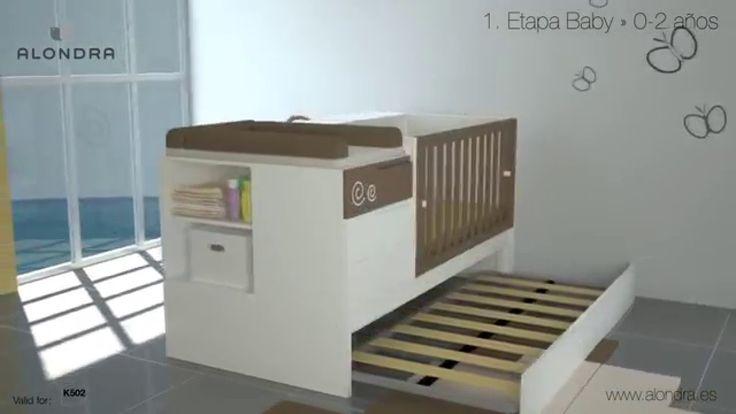 Cuna convertible en cama colección ZERO de Alondra. Descubre su espectacular transformación según las distintas etapas de crecimiento del bebé ¡Una solución de largo recorrido!