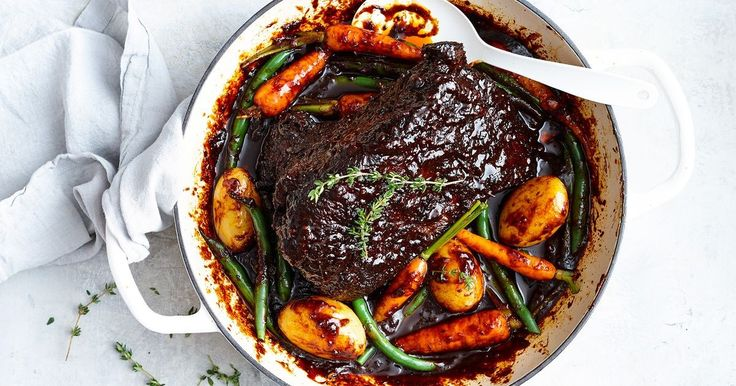 Melt-in-the-mouth sweet barbecue brisket served with tender steamed vegies is a meal the whole family are sure to love.