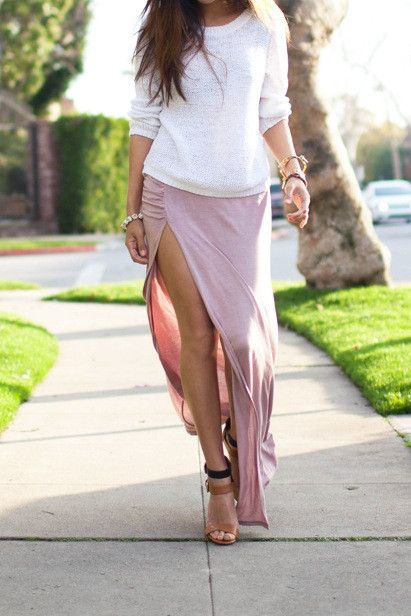 side slit maxi skirt