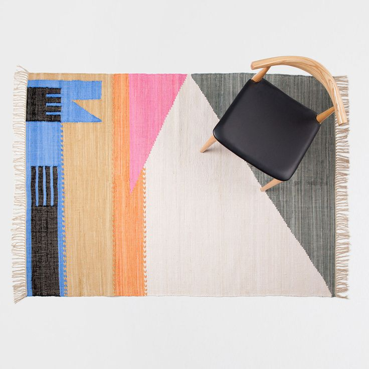 Image 1 of the product Cotton rug with irregular multicoloured shapes
