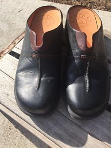 Women's Murtosa Black Leather Mules From Portugal 37 Slides Clogs Free Ship  | eBay